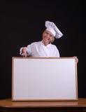 Cozinheiro chefe com placa branca Foto de Stock