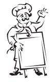 Cozinheiro chefe com placa do menu Fotos de Stock Royalty Free