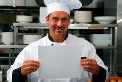 Cozinheiro chefe com sinal em branco Imagem de Stock Royalty Free