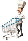 Cozinheiro chefe com um carro de compra ilustração do vetor