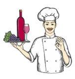 Cozinheiro chefe com vinho Ilustração do Vetor