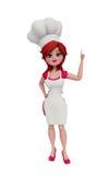 cozinheiro chefe 3d com apontar a pose Imagens de Stock