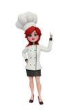 cozinheiro chefe 3d com apontar a pose Imagem de Stock Royalty Free