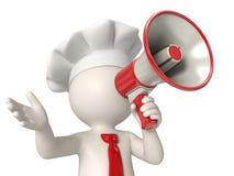 cozinheiro chefe 3d que fala no megafone Imagens de Stock Royalty Free