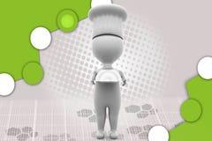 cozinheiro chefe 3d que guarda a ilustração da placa Foto de Stock Royalty Free