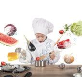 Cozinheiro chefe da criança pequena Fotografia de Stock