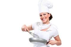 Cozinheiro chefe da jovem mulher fotos de stock royalty free