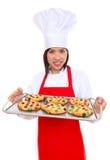 Cozinheiro chefe da mulher com bolinhos Imagens de Stock