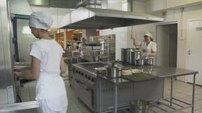 Cozinheiro chefe da mulher nas verificações brancas do uniforme que preparam a refeição no forno vídeos de arquivo
