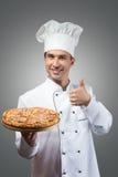 Cozinheiro chefe da pizza Fotografia de Stock