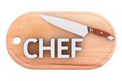 Cozinheiro chefe de aço Knife da cozinha sobre a placa de corte de madeira de Ciiking com Foto de Stock Royalty Free