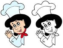 Cozinheiro chefe de espreitamento da mulher Fotografia de Stock