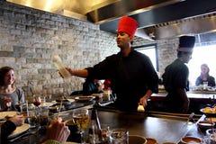 Cozinheiro chefe de Hibachi do japonês imagem de stock royalty free