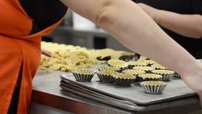 Cozinheiro chefe de pastelaria que faz os tartlets, pondo a massa em pratos de cozimento, na cozinha da loja de pastelaria filme