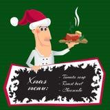 Cozinheiro chefe de Santa dos desenhos animados com um prato Imagens de Stock Royalty Free