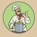 Cozinheiro chefe de sorriso com sopa Fotos de Stock Royalty Free