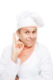 Cozinheiro chefe de sorriso isolado no branco Fotos de Stock