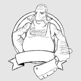Cozinheiro chefe do carniceiro sob a forma do sinal. Desenho a mão livre Fotografia de Stock Royalty Free