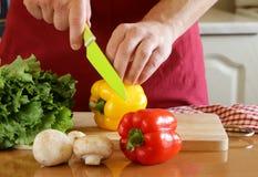Cozinheiro chefe do homem da mão que cozinha a salada vegetal Imagens de Stock