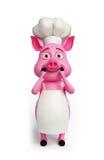 cozinheiro chefe do rosa 3d com surpresa Fotos de Stock