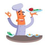 Cozinheiro chefe dos desenhos animados que guarda a placa com bife da carne Fotos de Stock