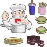 Cozinheiro chefe e alimento Fotos de Stock Royalty Free