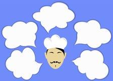 Cozinheiro chefe e nuvens para o texto ou os ícones Fotos de Stock