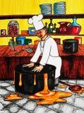 Cozinheiro chefe e potenciômetro Fotografia de Stock