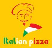 Cozinheiro chefe e sinal italiano da pizza Imagens de Stock