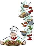 Cozinheiro chefe e suas ferramentas Foto de Stock