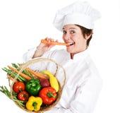 Cozinheiro chefe Eats Healthy Fotografia de Stock Royalty Free
