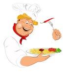 Cozinheiro chefe engraçado e espaguetes italianos Fotos de Stock