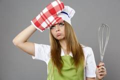 Cozinheiro chefe fêmea em poses diferentes isolado no cinza Fotografia de Stock Royalty Free