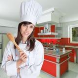 Cozinheiro chefe fêmea novo Imagens de Stock Royalty Free