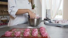 Cozinheiro chefe fêmea que decora o marshmallow usando o açúcar pulverizado na cozinha à moda vídeos de arquivo