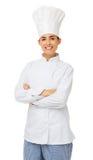 Cozinheiro chefe fêmea Standing Arms Crossed Foto de Stock