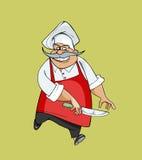 Cozinheiro chefe feliz dos desenhos animados que salta com uma faca em sua mão Imagens de Stock