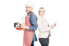 Cozinheiro chefe feliz With Successful Wife imagens de stock royalty free