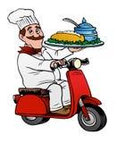 Cozinheiro chefe fino que entrega o alimento em um 'trotinette' Foto de Stock Royalty Free