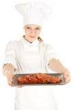 Cozinheiro chefe fêmea com carne, série Fotografia de Stock