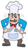 Cozinheiro chefe irritado com faca e forquilha Imagem de Stock