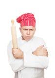 Cozinheiro chefe irritado com pino do rolo Fotografia de Stock