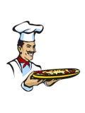 Cozinheiro chefe italiano com pizza Imagens de Stock Royalty Free
