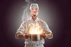 Cozinheiro chefe louco foto de stock
