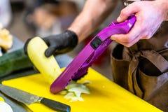 Cozinheiro chefe masculino Cutting Eggplant na cozinha imagens de stock