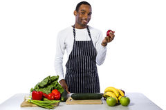 Cozinheiro chefe masculino em um fundo branco fotografia de stock royalty free