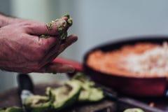 Cozinheiro chefe masculino Pealing Avocado para a refeição do casamento - a cozinha ajustou-se com ação, somente mãos do ` s do c foto de stock royalty free
