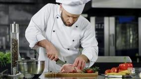 Cozinheiro chefe masculino que corta a fatia da carne na cozinha profissional Cozinheiro chefe que prepara a carne vídeos de arquivo