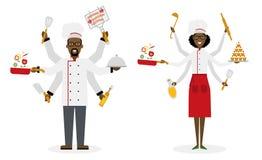 Cozinheiro chefe a multitarefas com seis mãos Fotografia de Stock Royalty Free