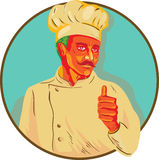 Cozinheiro chefe With Mustache Thumbs acima do círculo WPA ilustração stock